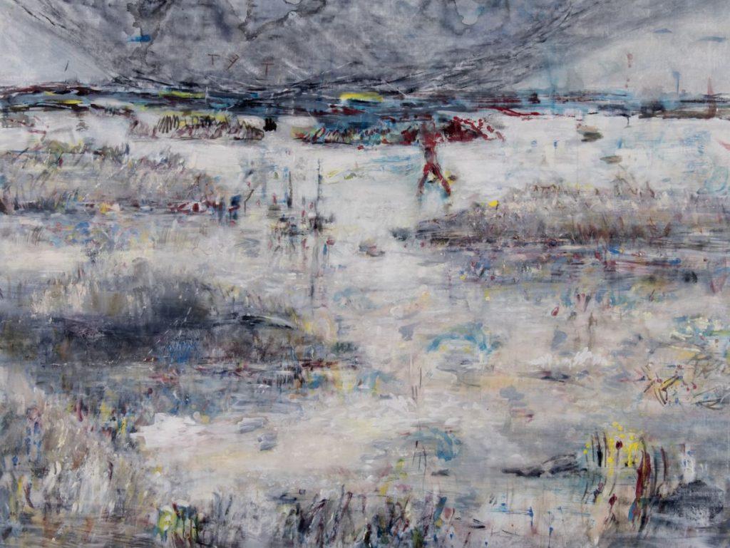 """Kriegslandschaft"", Acryl auf Leinwand, 150 x 195 cm, 2013"