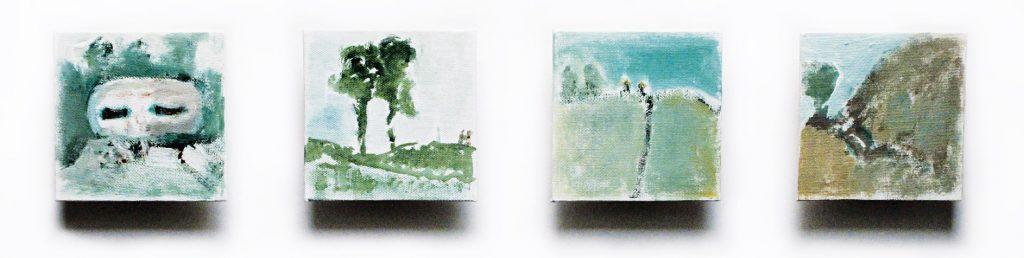 """""""Geschichtete Orte"""" (Landschaften aus dem 2. Weltkrieg), Acryl auf Leinwand auf Holz, je 10 x 10 cm, 2005"""