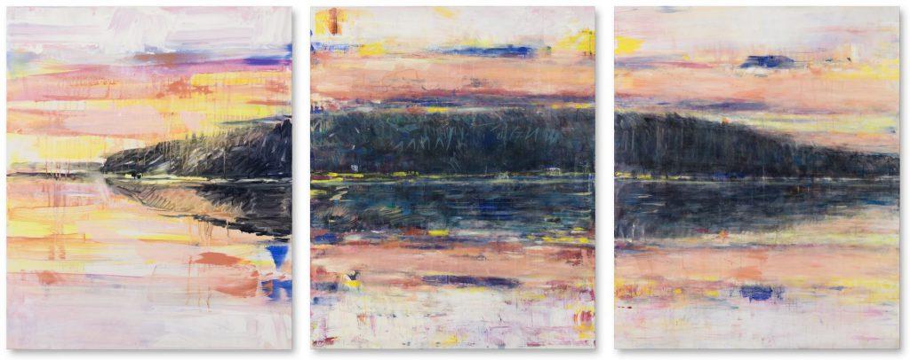 """""""Stechlinsee mit AKW Rheinsberg stillgelegt"""", Variiertes Triptychon, Acryl auf Leinwand, je 100 x 310 cm, 2011/2012"""