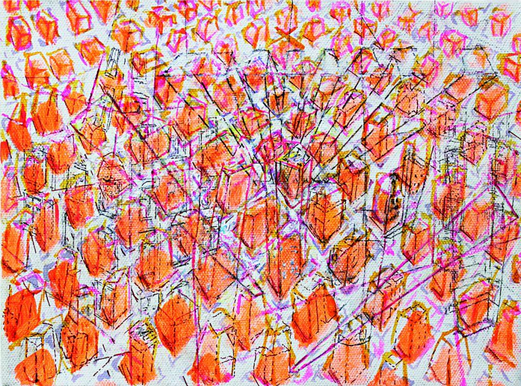 """""""urban area"""", Acryl und Tusche auf Leinwand, 18 x 24 cm, 2010"""