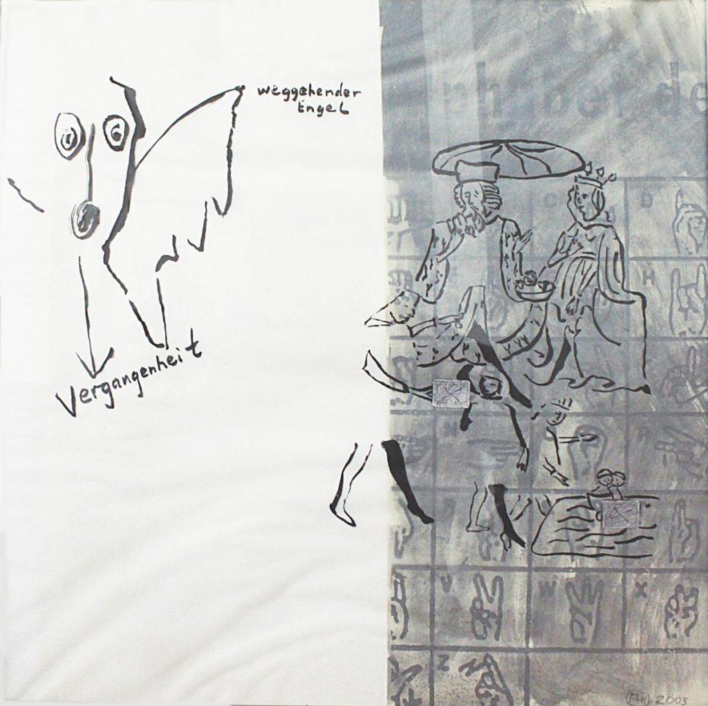 """""""o.T."""", Zeichnung auf Transparentpapier über Collage, 40 x 40 cm, 2003"""