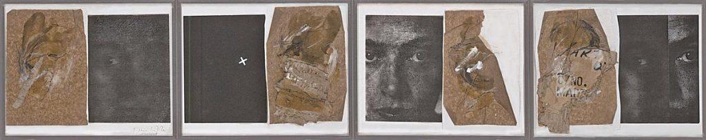 """""""o.T."""", Mischtechnik auf Papier mit Fotokopien (von Fotos gedruckter Abbildungen) und Resten eines Carepakets (von 1948), 4-teilig, 25 x 120 cm, 1988/1989"""
