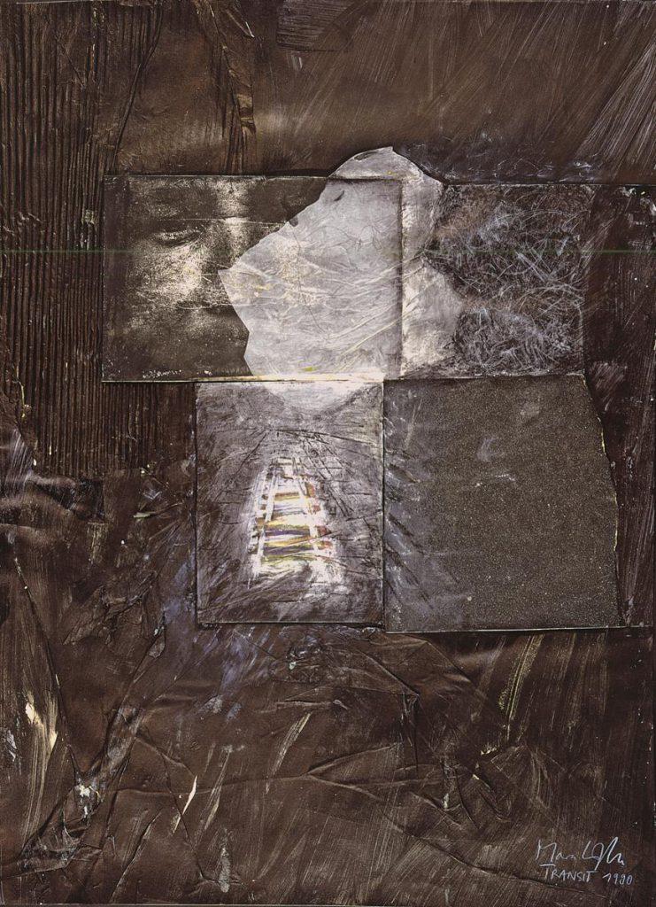 """""""Transit"""", Mischtechnik und Collage auf Papier, 80 x 60 cm, 1990"""