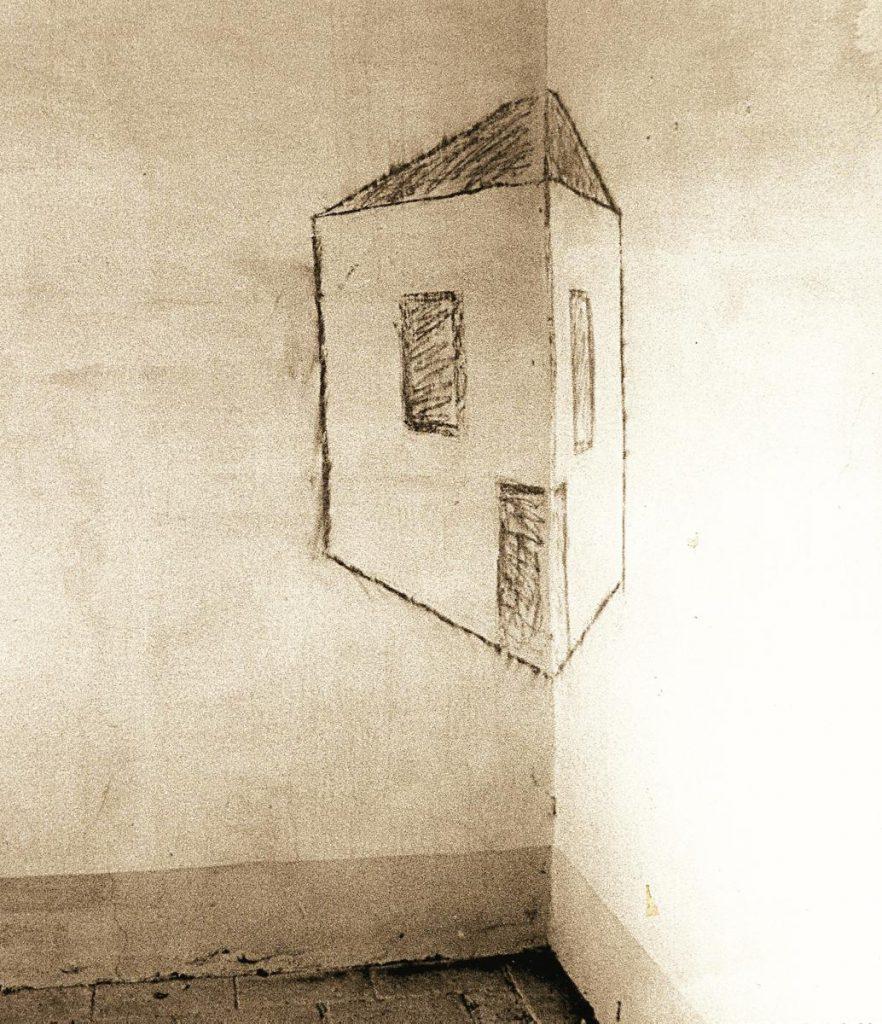 Raumeck 2, Kreidezeichnung auf Wand