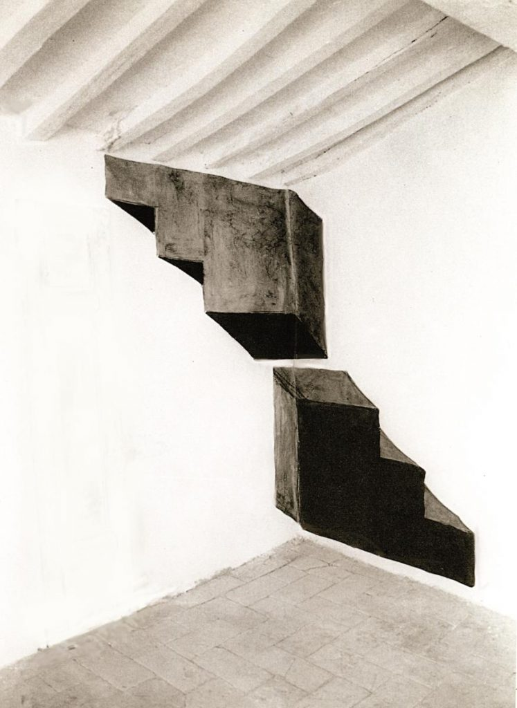 """""""Heldentreppe"""", Farbe auf Papier auf Wand, 200 x 210 cm, 1987 Atelier Palazzone, Italien"""