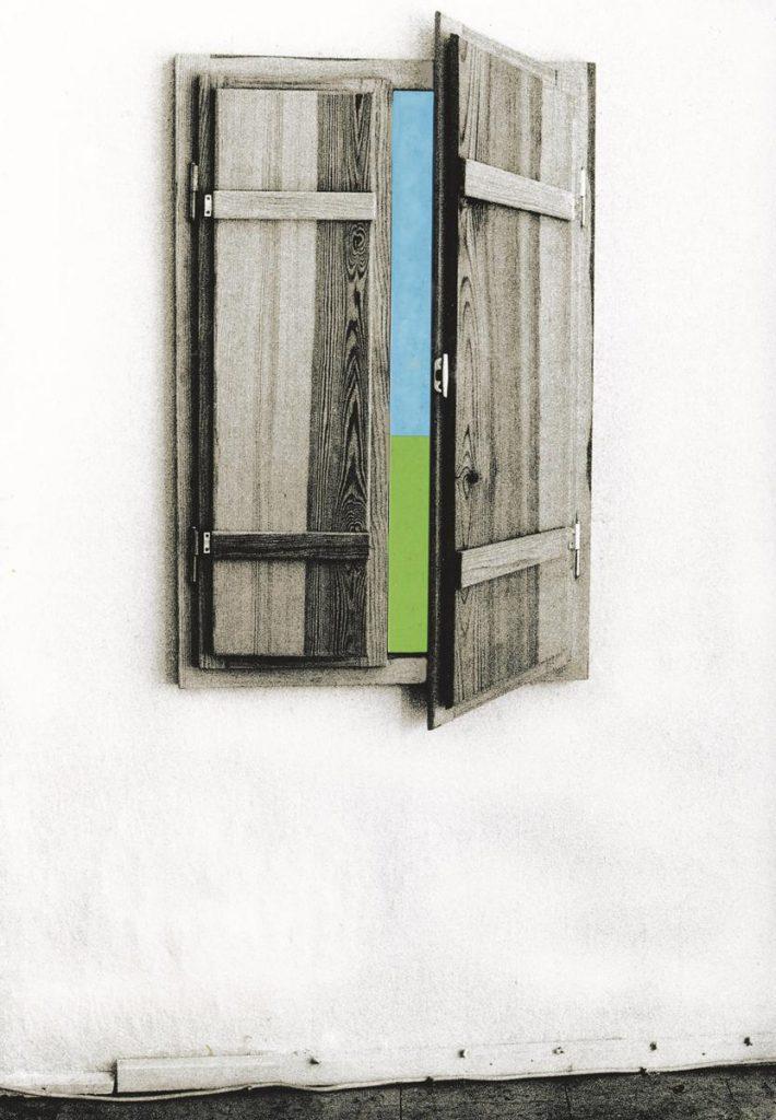 """""""Hommage à Magritte"""" 1, Fensterobjekt, 2-teiliges Holzrelief (Fenster mit eingebauter optischer Täuschung), herausnehmbarer Mittelteil, Farbe auf Holz, 120 x 80 x 5 cm, 1979"""