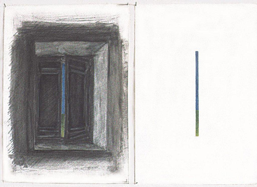 """Skizze """"Hommage à Magritte"""", Blei- und Buntstift auf Papier, 2x (28,5 x 21 cm), Palazzone 1978"""
