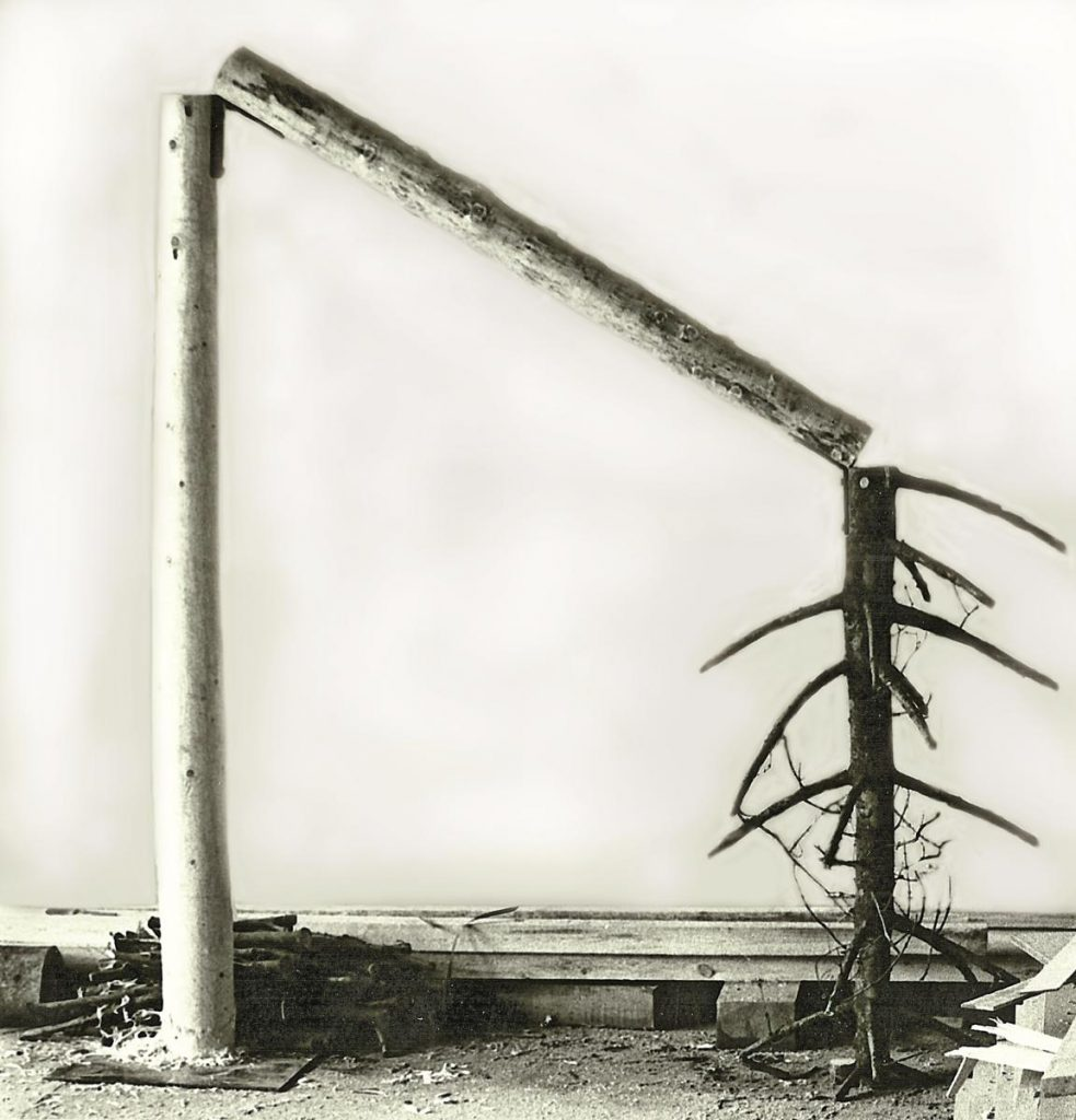 """Baumobjekt """"o.T."""", Fichtenstamm, 3-teilig, 314 x 280 x 120 cm, Eisenwinkel und Eisenplatte, auf dem Boden Rinde und abgesägte Äste, bei 2 Teilen des Stammes Äste entfernt, der stehende Teil entrindet und geschält, der mittlere Teil nur entrindet, der obere Teil (auf dem Kopf) mit Rinde und Ästen belassen, 1978, entstanden in der Firma Pfleiderer"""