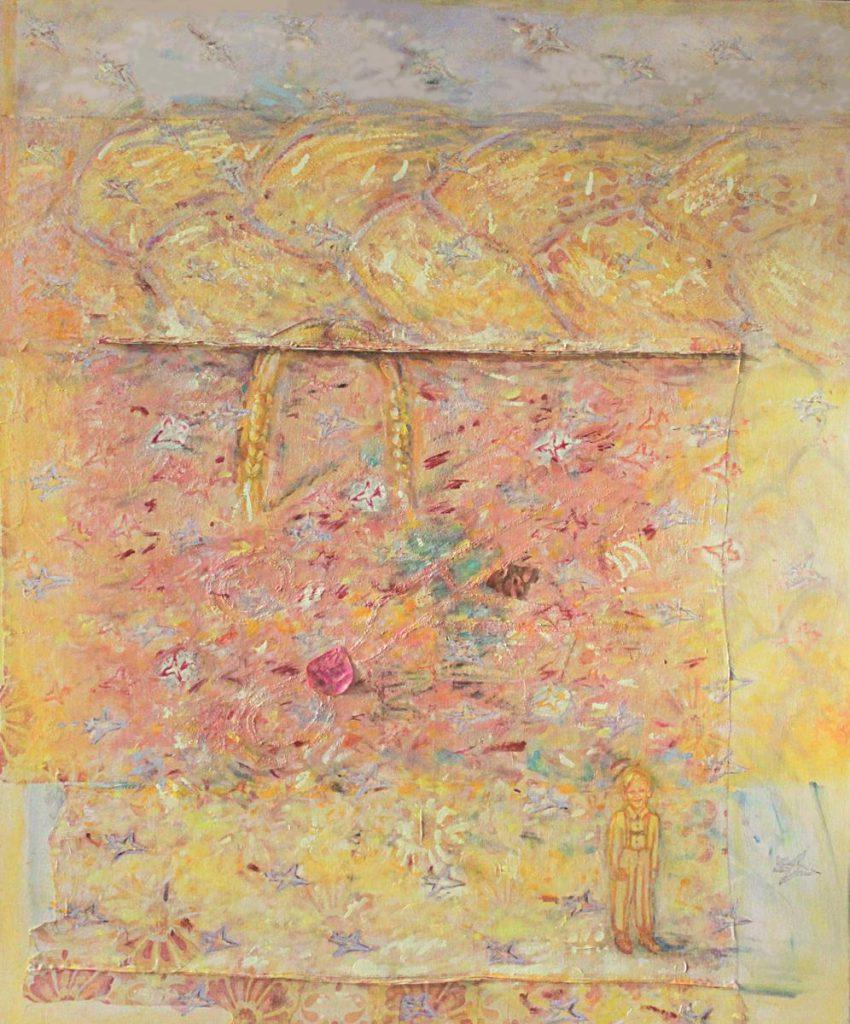 """""""Goldhaar"""" oder """"...dein goldenes Haar Margarete"""" (Paul Celan), Acryl und Mischtechnik auf altem Bettbezug und Leinwand, 120 x 100 cm, 2000/2001"""