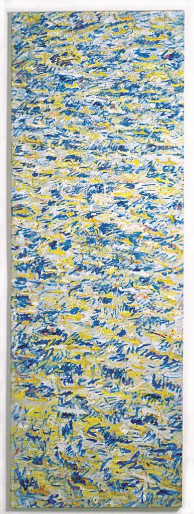 """""""Himmelsstück 1""""(Flugzeugbild), Acryl auf Leinwand, 200 x 70 cm, 1997/1998"""
