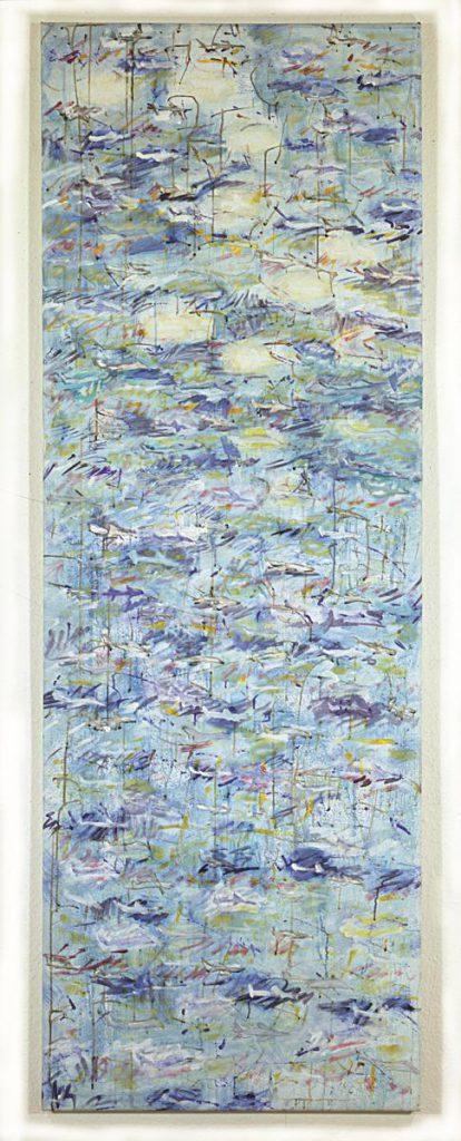 """""""Himmelsstück 2"""", (Flugzeugbild), Acryl auf Leinwand, 200 x 70 cm, 1997/1998"""