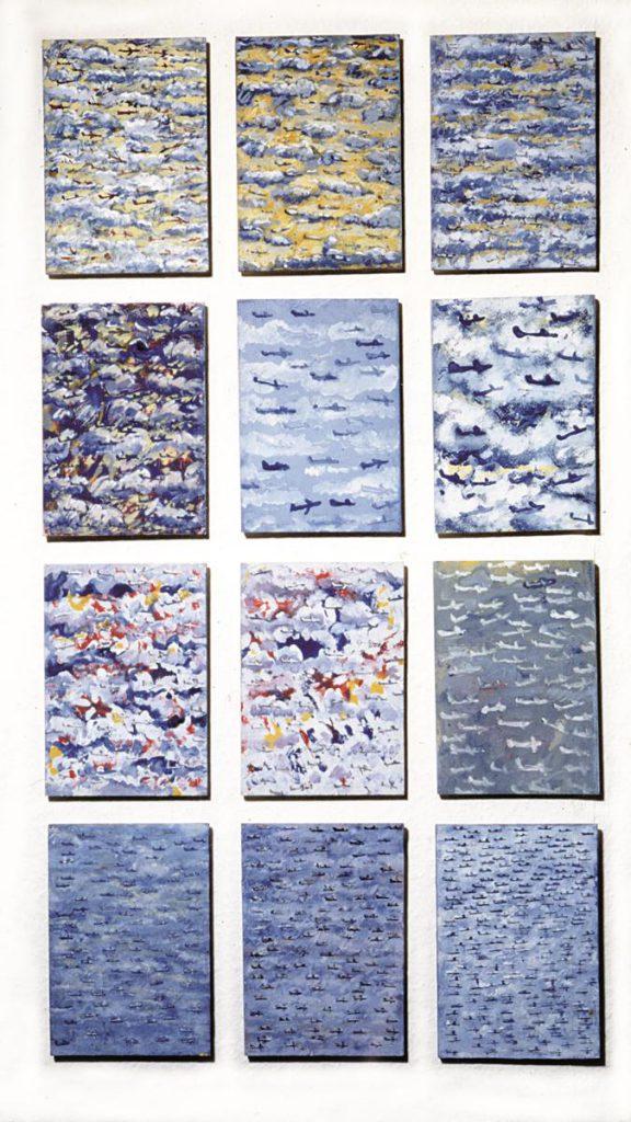 """12 kleine """"Himmelsstücke"""", Acryl und Mischtechnik auf Holz, je 21 x 15 cm, 1995"""
