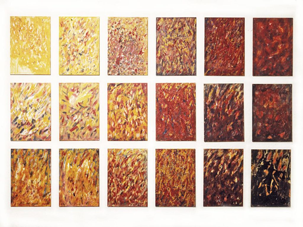 """Kleine Feuerbilder zu """"Il Fuoco"""", Acryl auf Metall, je 21 x 15 cm, 1998/19999"""