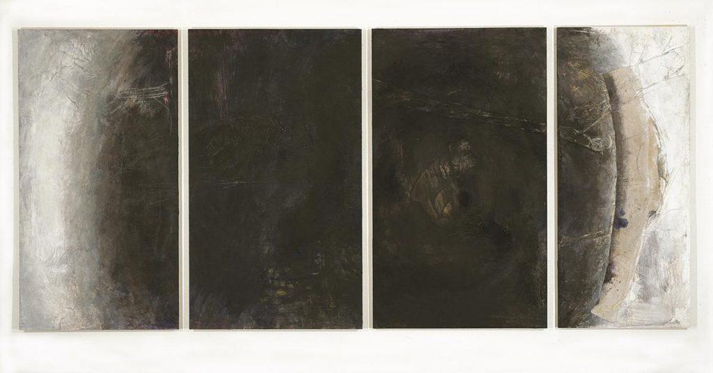 """""""Erdschattenstücke"""", Materialcollage und Farbe auf Papier auf Holz, 150 x 340 cm, 1989"""