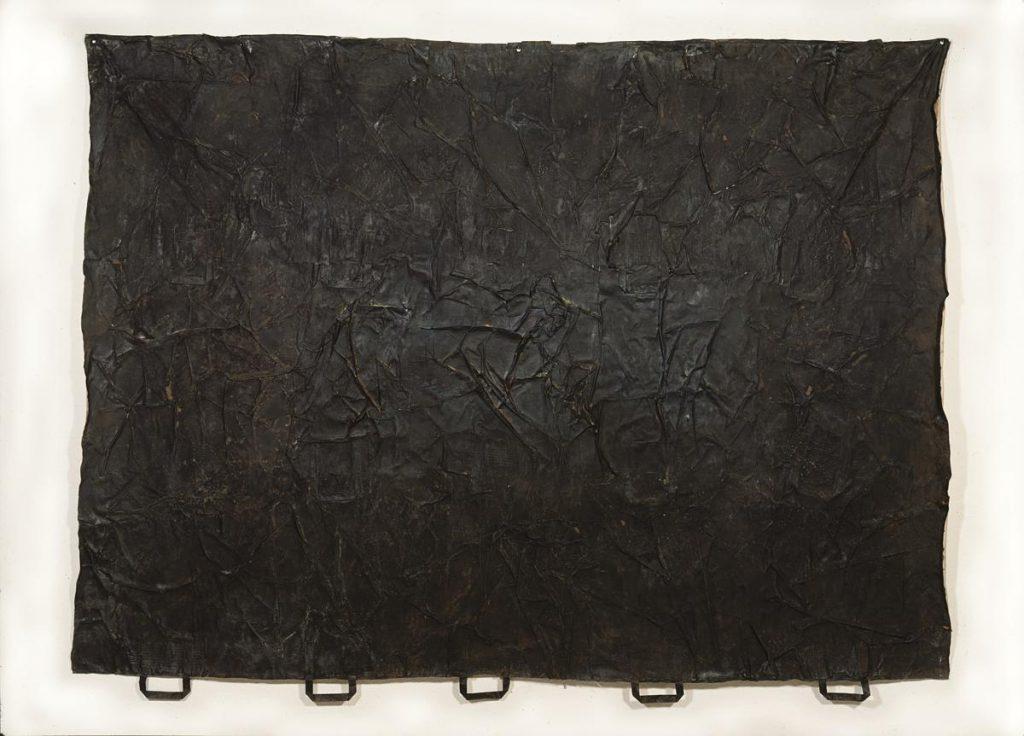 """""""amici del ambiente 1"""", Farbe auf Papiertüten auf Leinen, 150 x 214 cm, 1991/1992"""