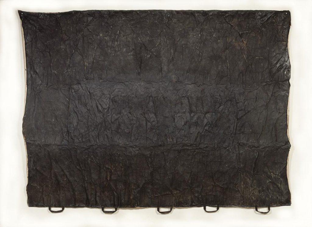 """""""amici del ambiente 2"""", Farbe auf Papiertüten auf Leinen, 150 x 214 cm, 1991/1992"""