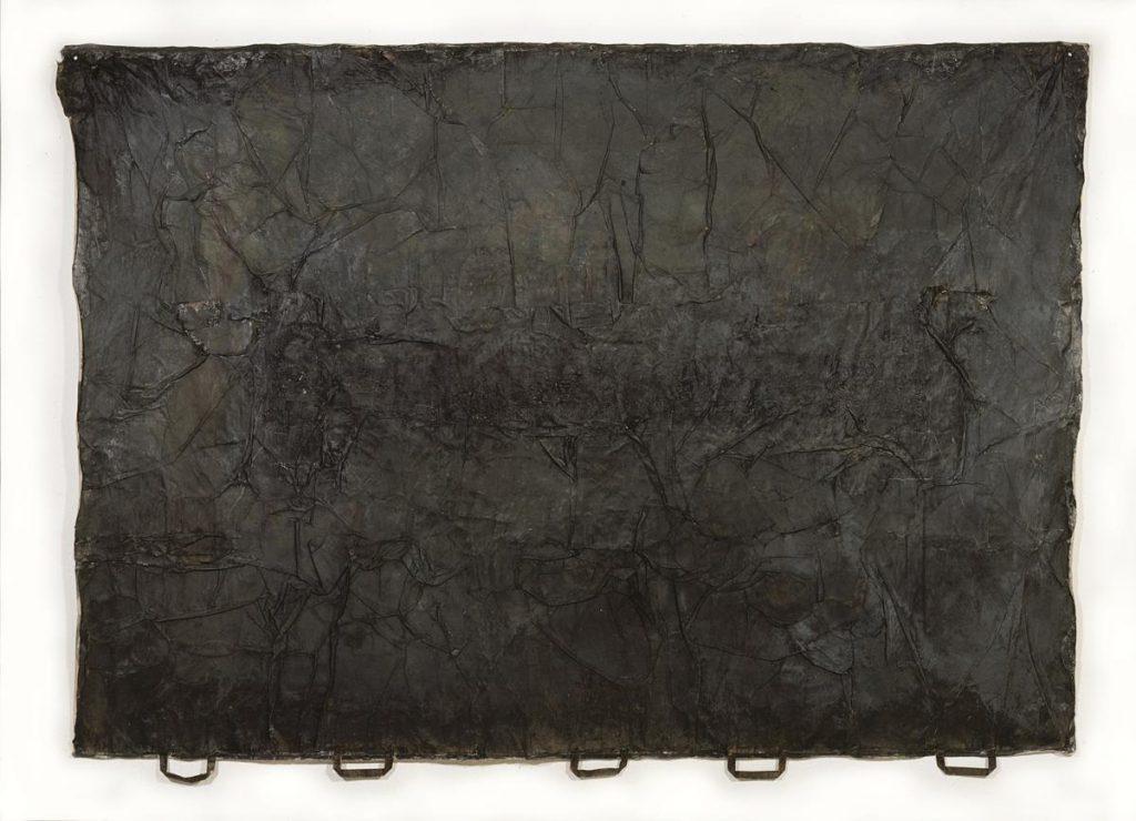 """""""amici del ambiente 3"""", Farbe auf Papiertüten auf Leinen, 150 x 214 cm, 1991/1992"""