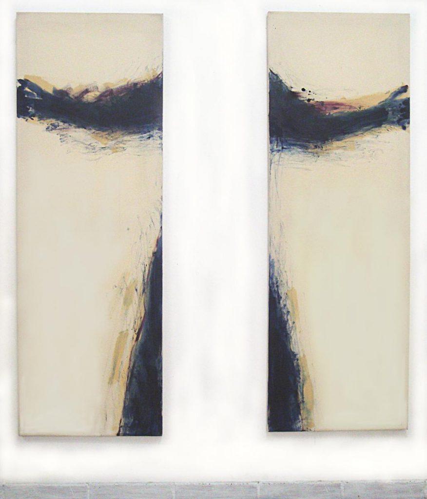 """""""Die Umarmung zweier Leinwände oder die Abwesenheit des Körpers"""", Öl auf zwei Leinwänden, je 148 x 50 cm, 1983"""