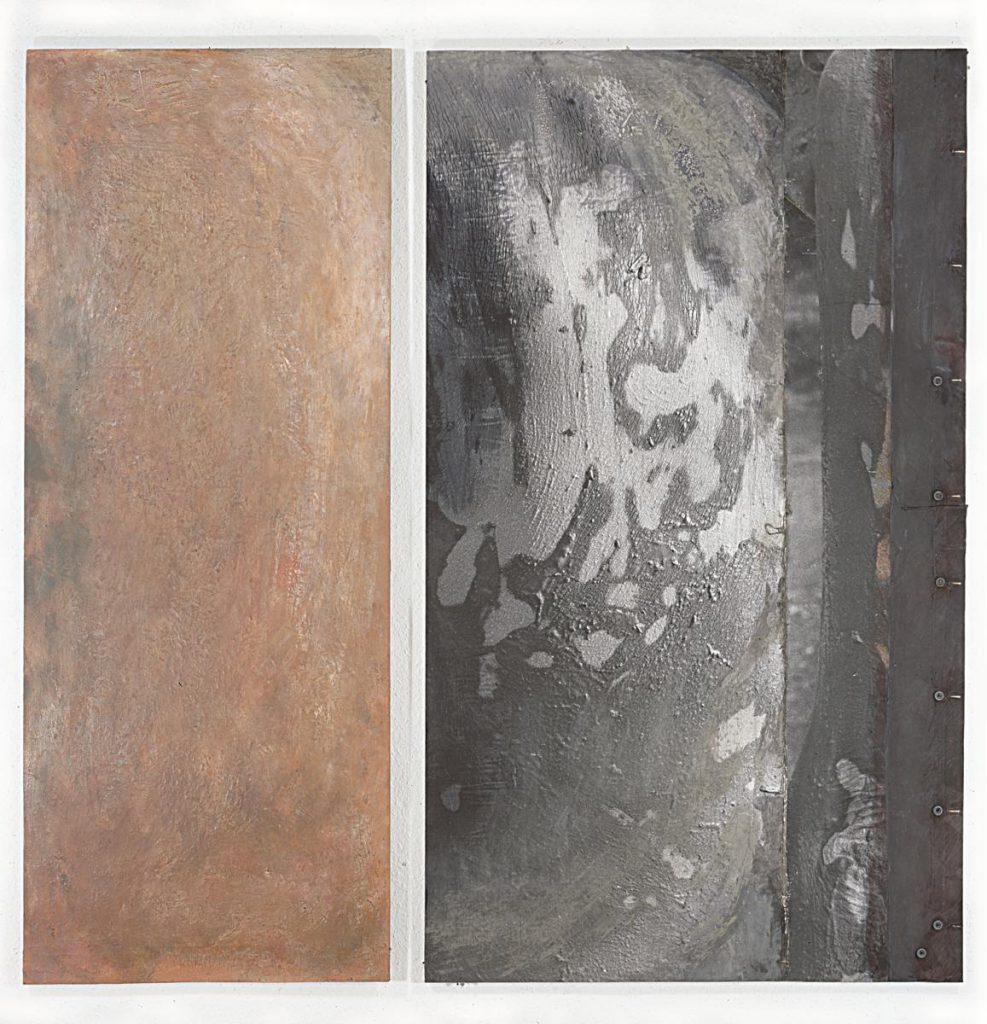 """""""La Baigneuse"""", linker Teil: Fangoerde, Wachs und Farbe auf Leinwand auf Holz, rechter Teil: Foto (Cibachrom), Zeltplane, Fangoerde und Farbe auf Leinwand auf Holz, 165 x 166 cm, 1991/92"""
