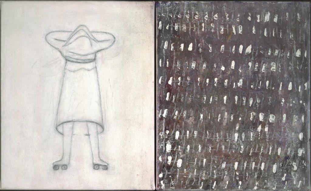 """Doppelbild 1"", o.T., Acryl, Öl, Mischtechnik auf Leinwand, 2x (50 x 40 cm), 2003"