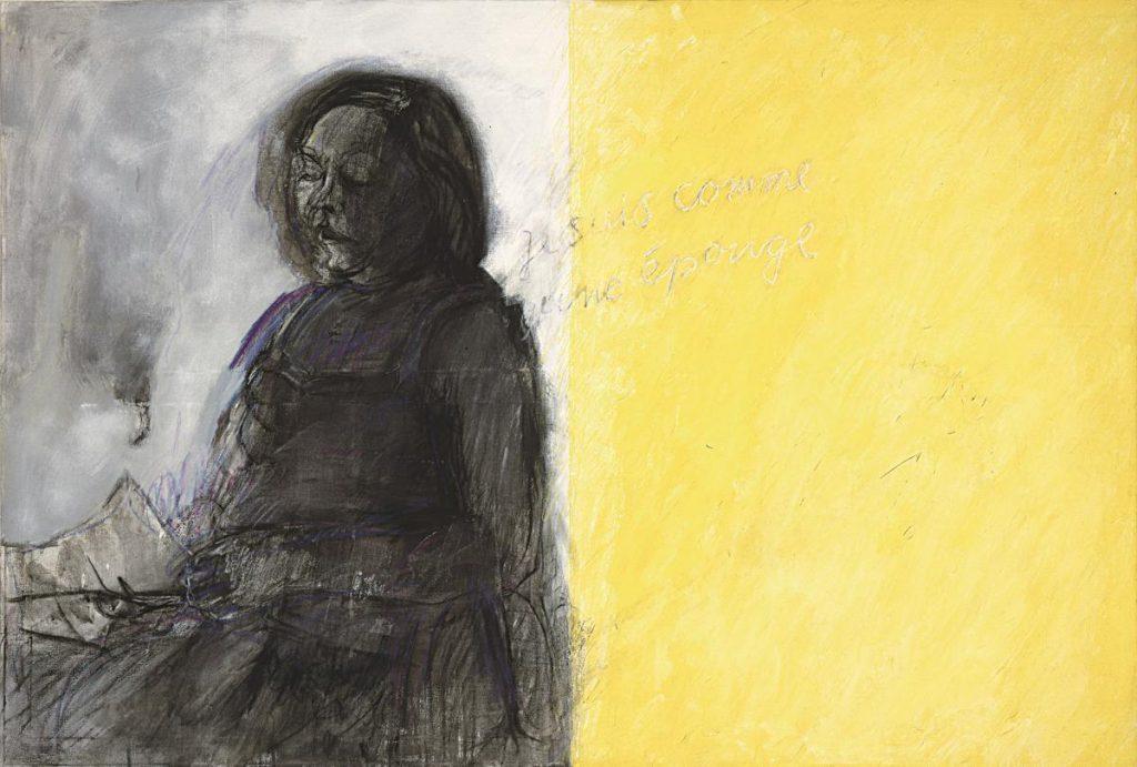 """""""Je suis comme une éponge"""" (Doppelbild), Acryl, Kohle, Kreide auf Leinwand, 100 x 150 cm, 1986"""