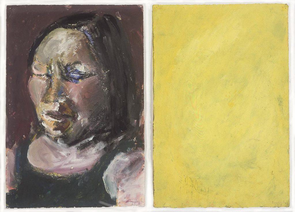 """""""Elyane D."""", Gouache auf Papier, 2-teilig, 41 x 58 cm, 1986"""