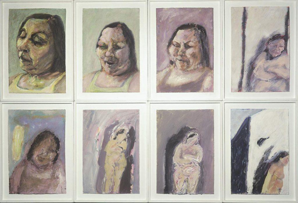 """""""Elyane Delrieu 1"""", Portraitreihe, Gouache auf Papier auf Holz, je 47 x 35 cm, 1986"""