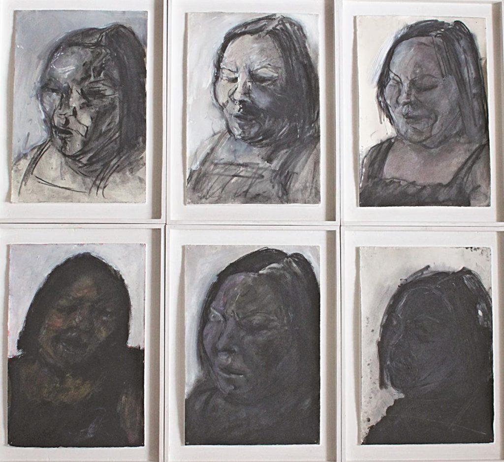 """""""Elyane Delrieu 2"""", Portraitreihe, Kohle und Mischtechnik auf Papier auf Holz, je 47 x 35 cm, 1986"""
