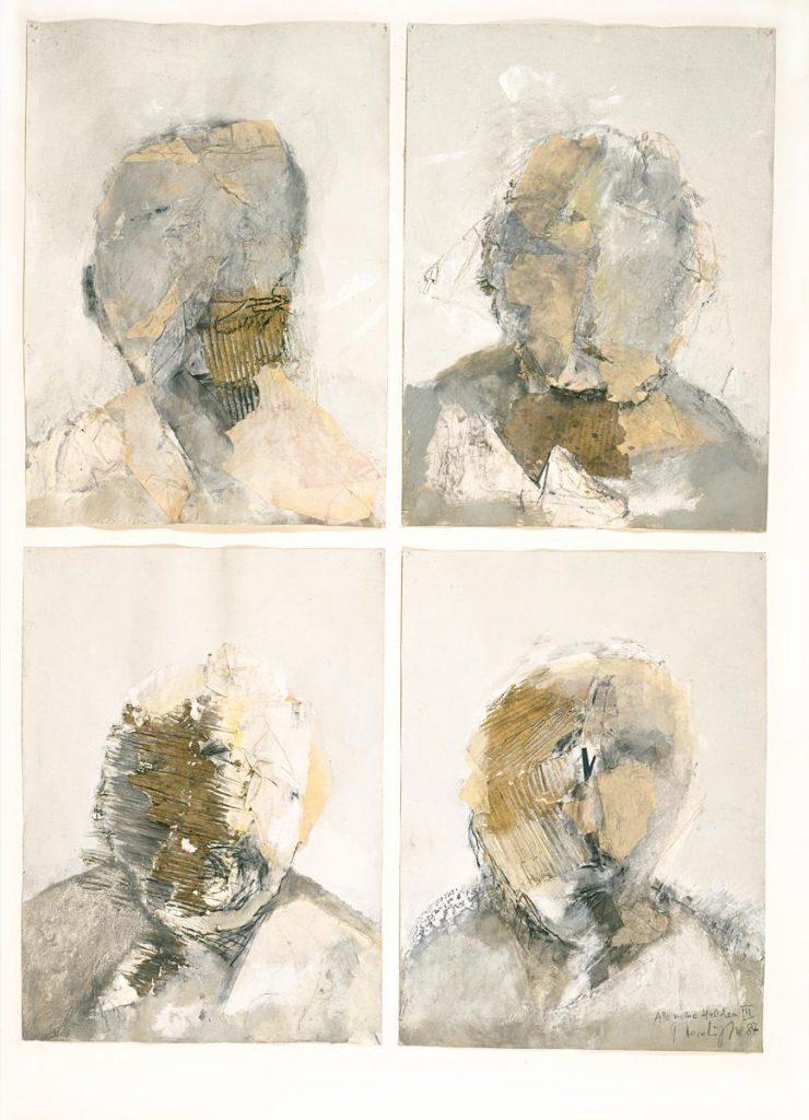 """""""Alle meine Helden 3"""", Collage aus Papiertüten und Mischtechnik auf Papier, 4 Formate je 70 x 50 cm, 1987"""