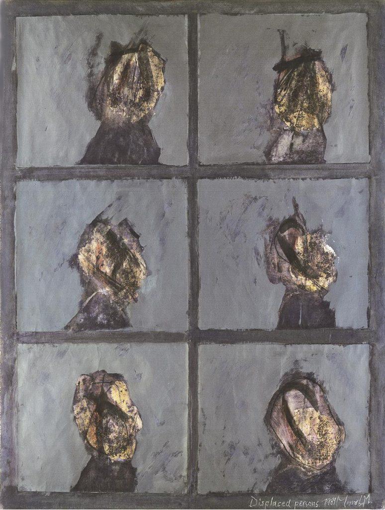 """""""Displaced Persons"""", Mischtechnik, Papier auf Leinwand, 180 x 130 cm, 1989"""