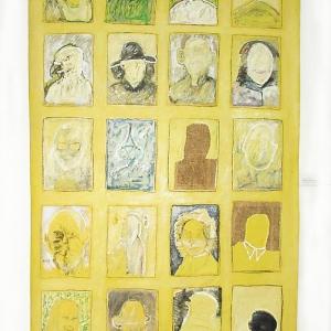 """""""Ahnengalerie/ ancestors"""" (oder """"hinter sich sehen""""/ looking back / respectare), Acryl und Mischtechnik auf Leinwand, 255 x 155 cm, 1987"""