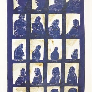 """""""I am looking"""", Acryl und Mischtechnik auf Leinwand, 255 x 155 cm, 1987"""