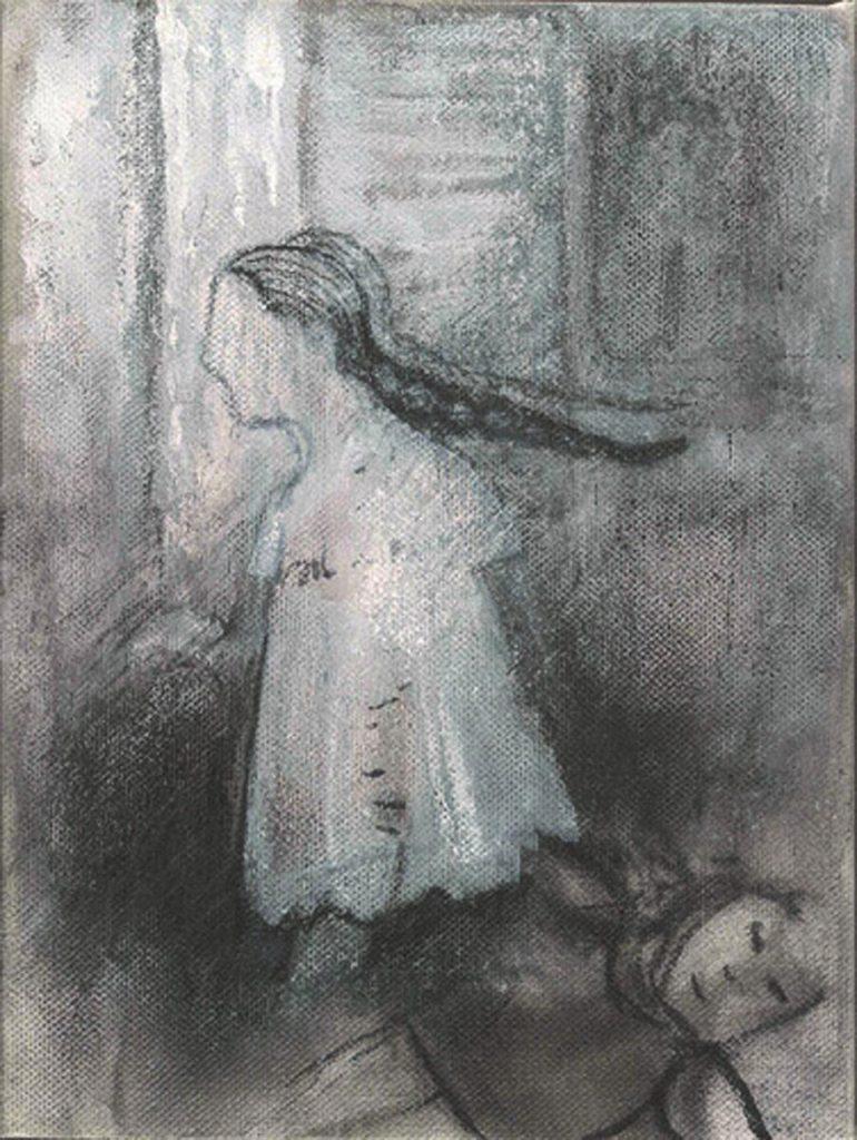 """""""Tebrone K. as a child"""", Mischtechnik auf Leinwand, 24 x 18 cm, 2004"""