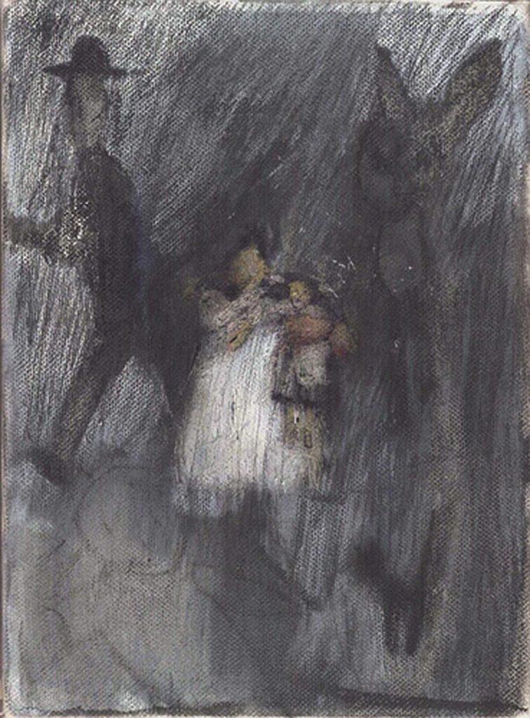 """""""The artist as a child"""", Mischtechnik auf Leinwand, 24 x 18 cm, 2004"""
