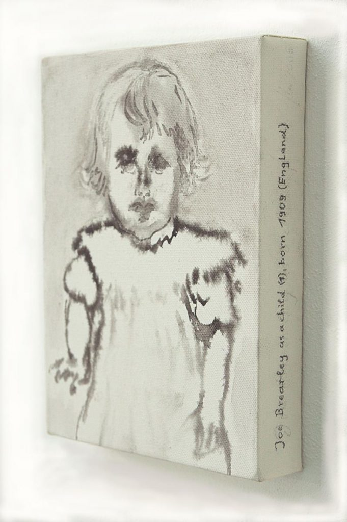 """Joe Brearley as a child"", Tusche auf Leinwand, 24 x 18 cm, 2004"