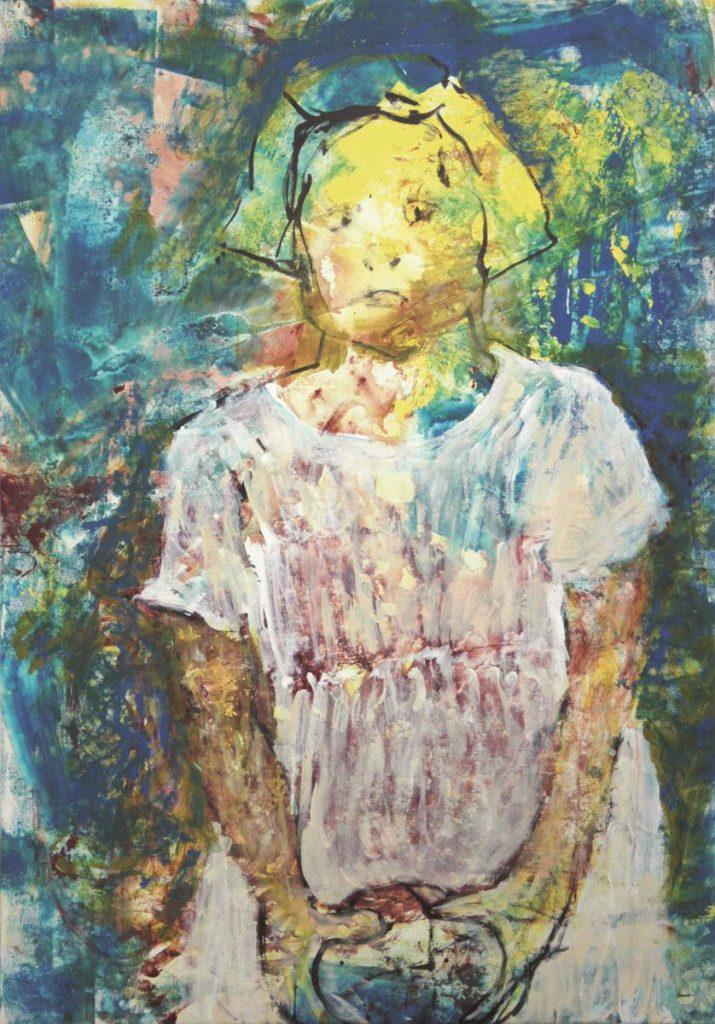 """""""Marlis Quasebarth as a child"""", Acryl auf Leinwand, 150 x 105 cm, 2007"""