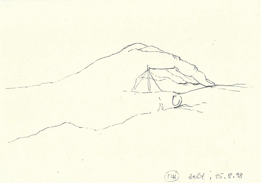 """""""da-heim"""", Zeichnung auf Papier, 21 x 29 cm, 1998"""