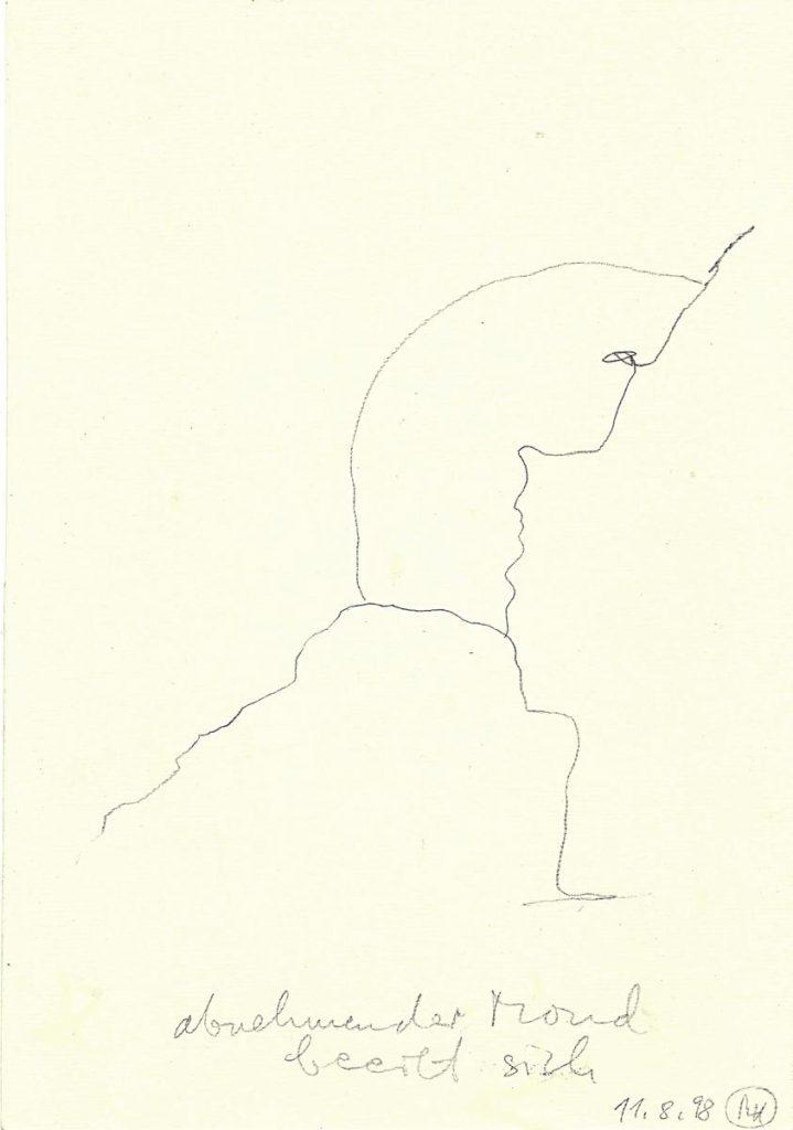 """""""Abnehmender Mond beeilt sich"""", Bleistiftzeichnung auf Papier, 29 x 21 cm, 1998"""