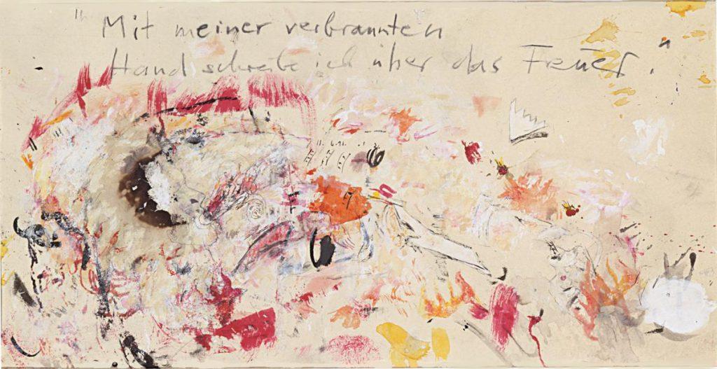 """""""mit meiner verbrannten Hand..."""", nach Ingeborg Bachmann, Mischtechnik auf Papier, 32 x 62 cm, 1998/99"""