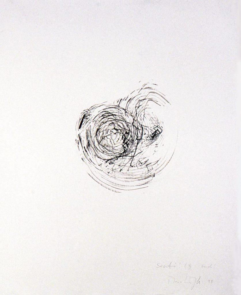 """""""Senti! Horch!"""", Tuschezeichnung auf Papier, 65 x 50 cm, 1998"""