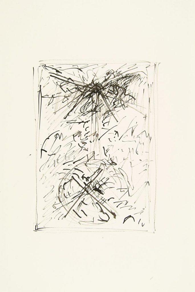 """""""Schrei 1"""", Tuschezeichnung auf Papier, 85 x 61 cm, 1982"""