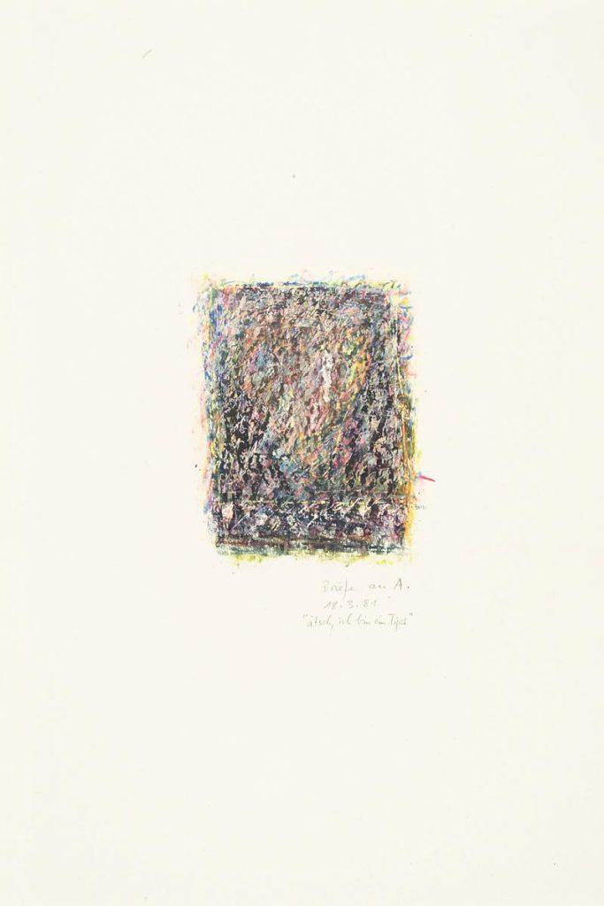 """""""Brief 18. 3. 1981- ätsch ich bin ein Tiger"""", Kreidezeichnung, Mischtechnik auf Papier, 85 x 61 cm, 1981"""