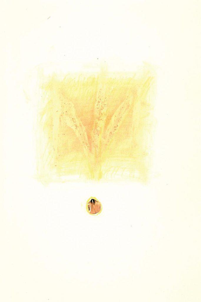 """""""Sommerbrief 5"""", Blütenfarbe Ginster und Buntstift auf Papier, 85 x 61 cm, 1981"""