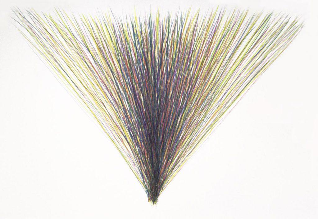 """""""Farbdreieck 2"""", Buntstiftzeichnung mit Grundfarben auf Papier, 70 x 53,5 cm, 1977"""