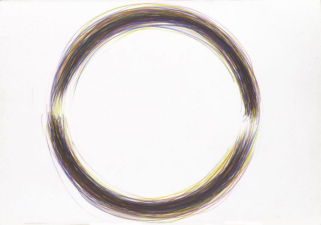 """""""Mandala 1"""", Buntstiftzeichnung mit Grundfarben auf Papier, 55,6 x 65 cm, 1978"""