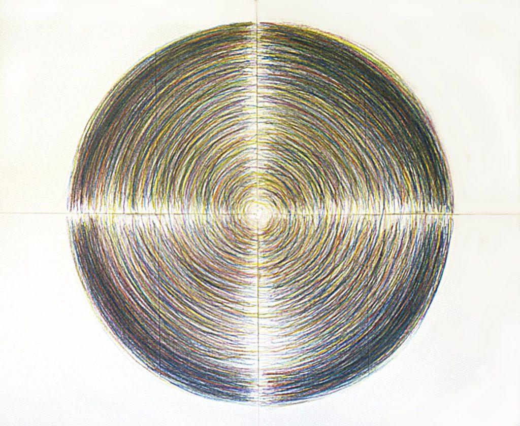 """""""Mandala"""", Buntstiftzeichnung mit Grundfarben auf 4 Papierbögen, 112 x 150 cm, 1979"""