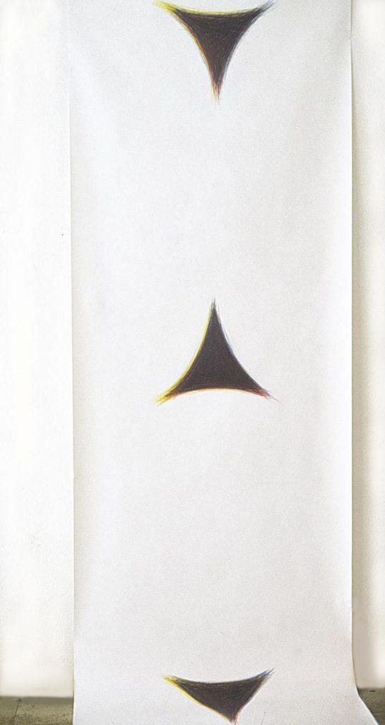 """""""Farbzwischenräume"""" (zwischen den Kreis-Mandalas), Buntstiftzeichnung mit Grundfarben auf Papier, 350 x 80 cm, 1980"""