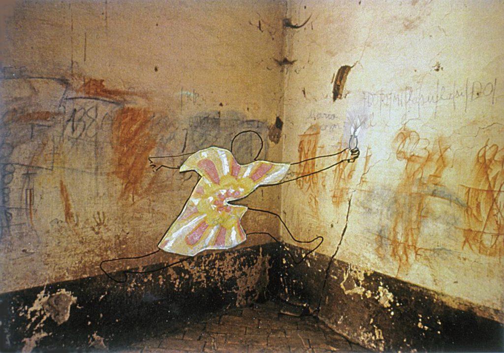 """""""Where are you Persephone?"""", Collage und Zeichnung auf Foto vom Inneren eines verlassenen Hauses in Italien, c-print auf Dibond (1cm), 80 x 53 cm, 2002"""