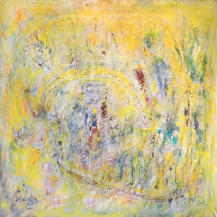 """""""Gelbes Bild"""", Acryl und Mischtechnik auf Leinwand, 200 x 300 cm, 2000/2001, Ausschnitt"""