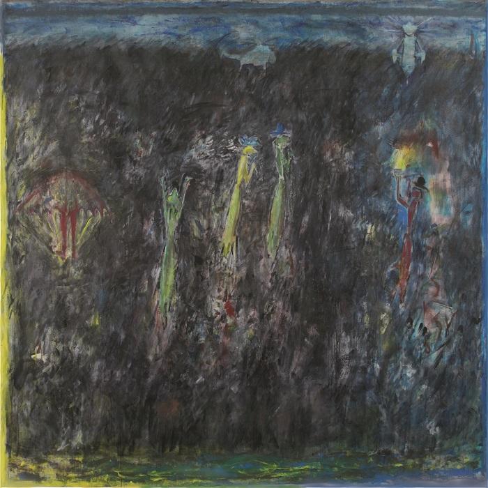 """""""Das Schwarze ist die Welt 2"""", Acryl auf Leinwand, 200 x 300 cm, 2002, Ausschnitt"""